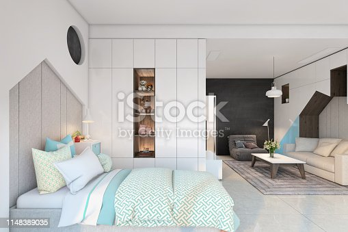 Contemporary kids bedroom interior. Pastel colored bed, pillows, shelve, pendant lamp, couch, carpet, table, vase and plant. Template for copy space. Render.