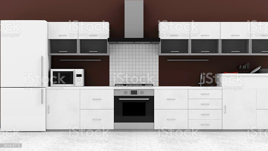 Moderne Küche 3D-Innenfutter – Foto