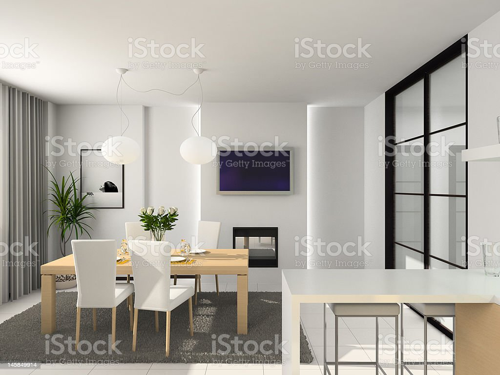 Modern kitchen. 3D render royalty-free stock photo