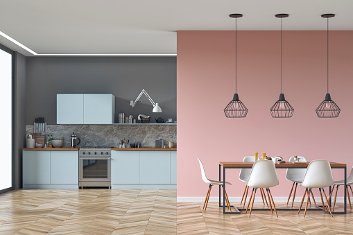 Modern kitchen and dining room stock photo