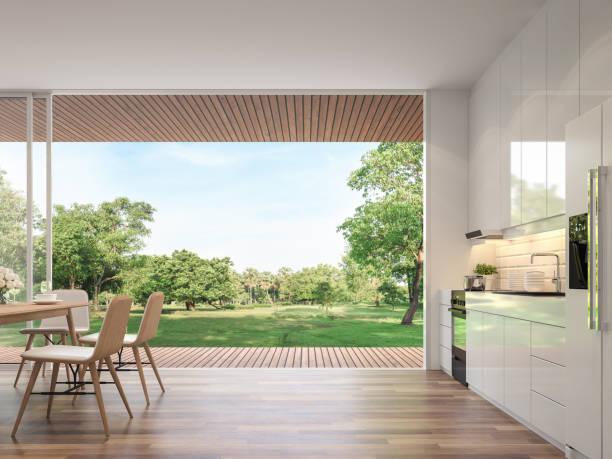 Moderne Küche und Esszimmer mit Naturblick 3d render – Foto