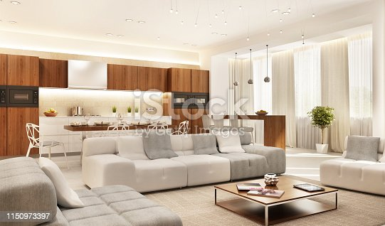 istock Modern kitchen and large living room 1150973397