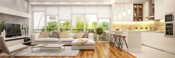현대적인 주방과 거실 - 모던 양식 뉴스 사진 이미지