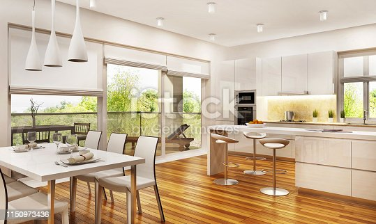 istock Modern kitchen and living room 1150973436