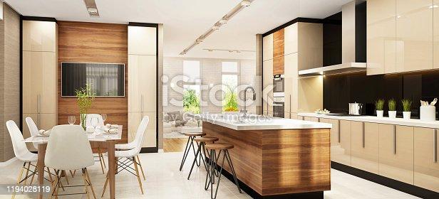 Modern interior design large kitchen