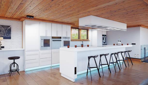 moderne küche chalet interieur. - landhausstil küche stock-fotos und bilder