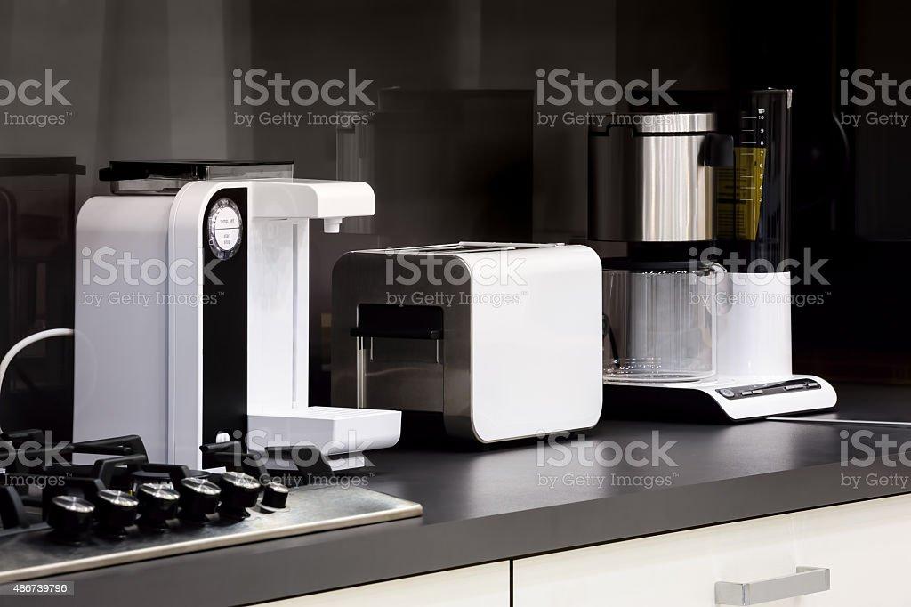 Modern kitchen, clean interior design stock photo