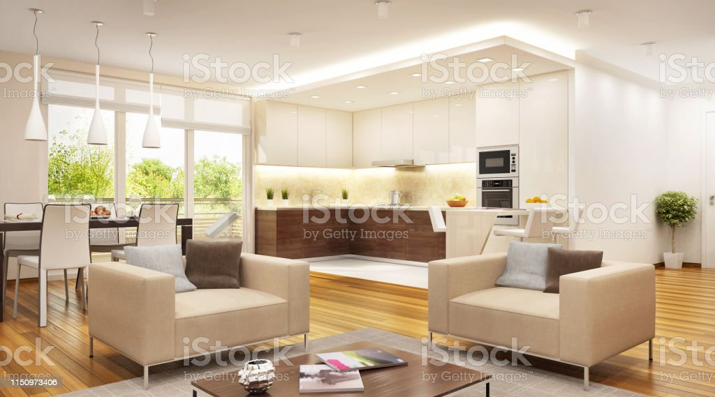 Modern Kitchen Combined With Living Room Open Space Stock