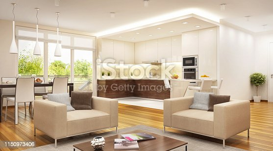 istock Modern kitchen combined with living room open space 1150973406