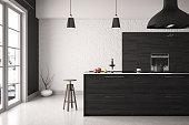 Black modern kitchen design
