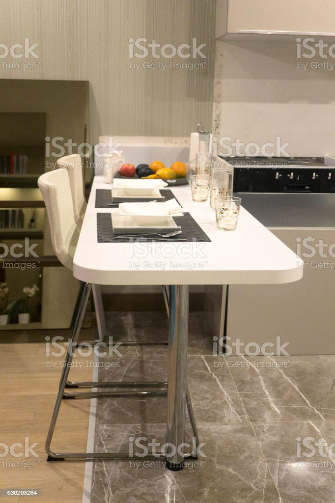 Modern Kitchen Counter Table With Chairs Stock Photo Download Image Now Istock