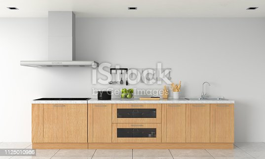 istock Modern kitchen countertop and electric induction stove for mockup, 3D rendering 1125010986