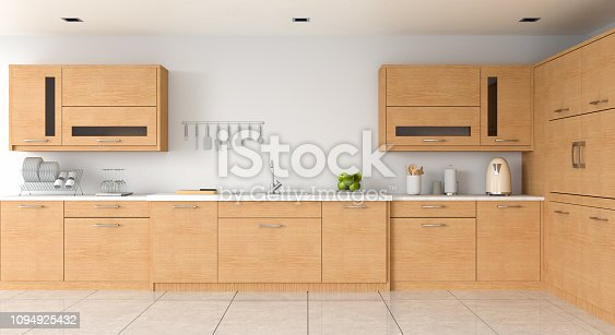 istock Modern kitchen countertop and sink for mockup, 3D rendering 1094925432