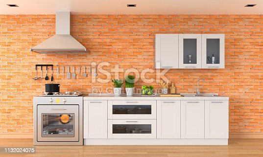 istock Modern kitchen countertop with gas stove, 3D rendering 1132024075