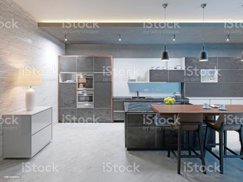 Modern Kitchen Design With A Long Center Island And Bar Table Fitted With A Black Marble Countertop Stainless Steel Equipment Stock Photo Download Image Now Istock