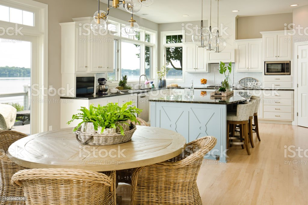 Modern Kitchen Design With Open Concept And Bar Counter Stock Photo Download Image Now Istock