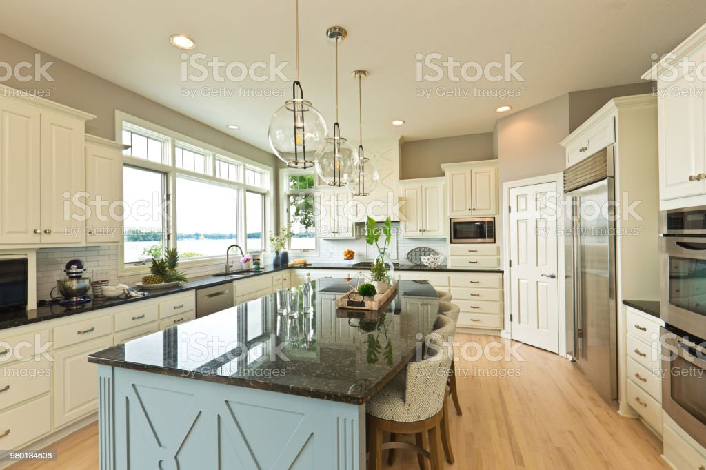 Modern Kitchen design with open concept and bar counter stock photo