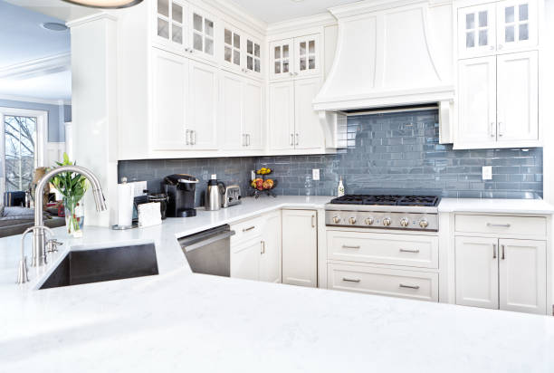 Modern Kitchen Design with Stainless Appliance stock photo