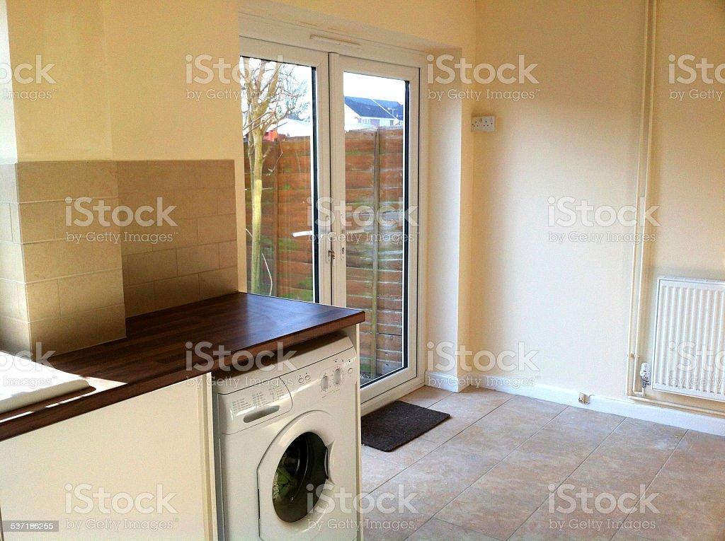 Modern Kitchen Diner White Cupboards Washingmachine Patio Doors Back Garden Stock Photo Download Image Now Istock