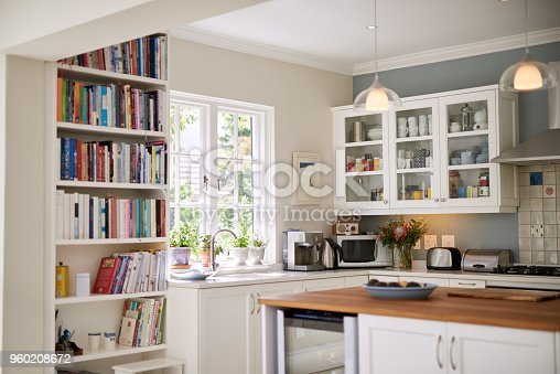 Still life shot of the kitchen interior in a residential home