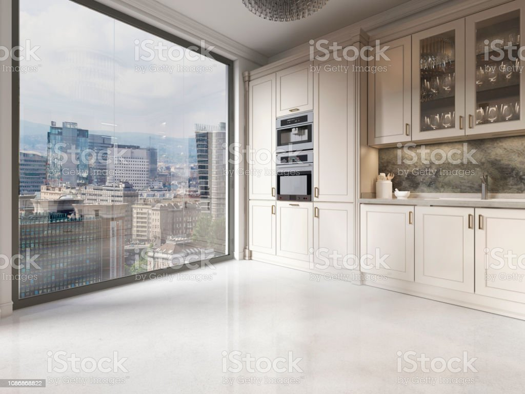 Moderne Kuchenmobel Beige In Der Kuche Mit Einem Grossen Fenster Vom Boden Bis Zur Decke Stockfoto Und Mehr Bilder Von Beige Istock