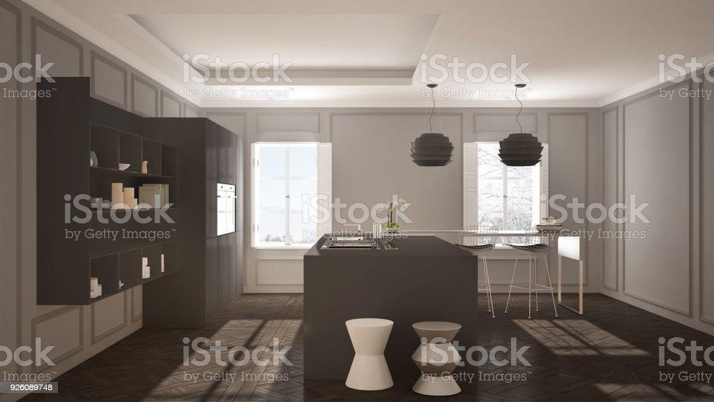 Moderne Kuchenmobel Im Classic Zimmer Altes Parkett Minimalistische