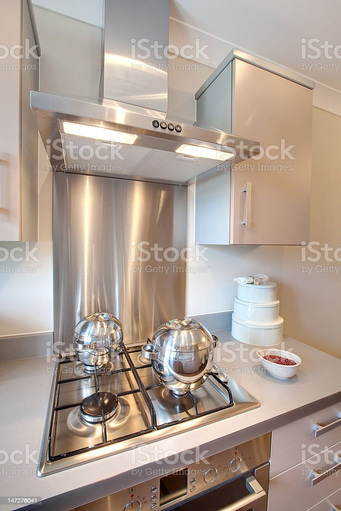 Modern kitchen hob stock photo