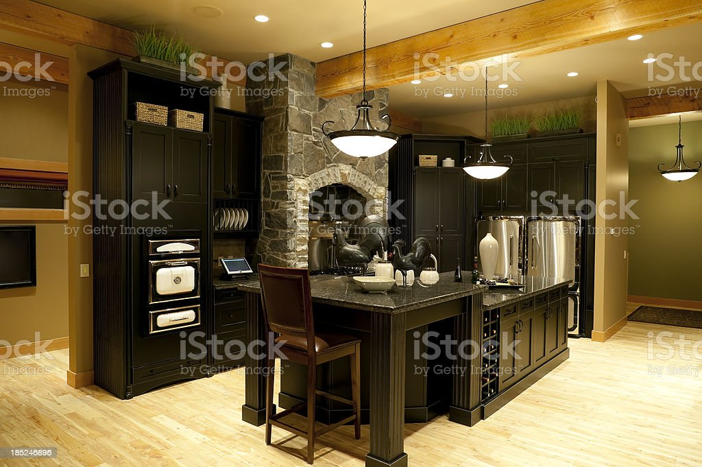 modern kitchen home interior stock photo