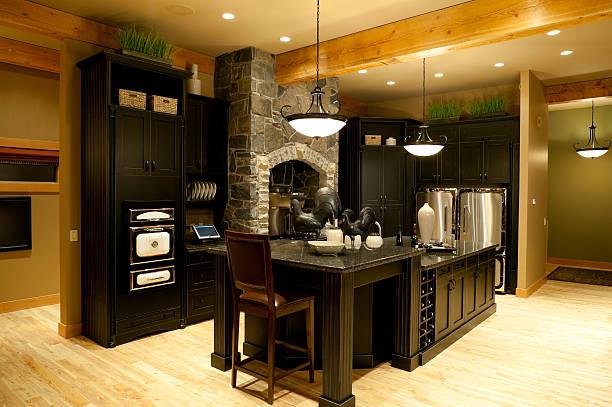 moderne küche home interior - laminatschränke stock-fotos und bilder