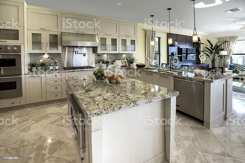 Modern kitchen house interior stock photo