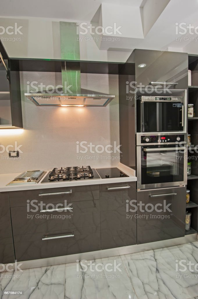 Modern kitchen in a luxury apartment stock photo