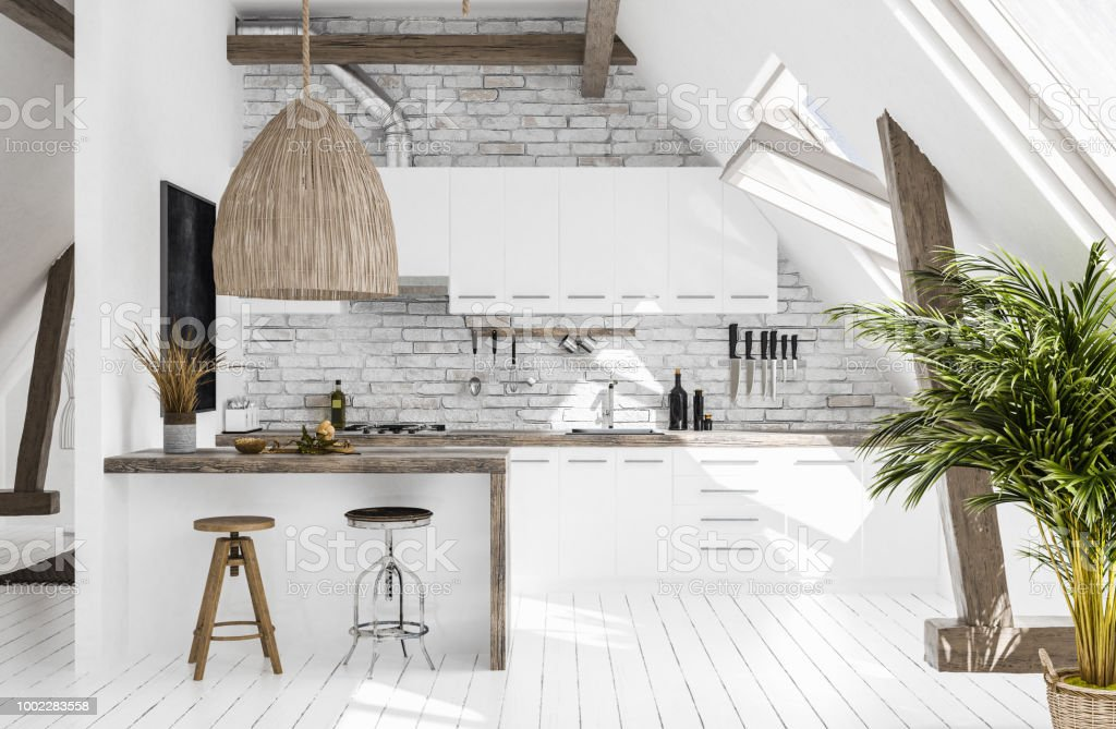 Modern kitchen in attic, Scandi-boho style