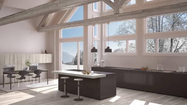 modernt kök i villa classic, loft, stora panoramafönster på vintern äng, white och gray minimalistisk inredning - looking inside inside cabinet bildbanksfoton och bilder