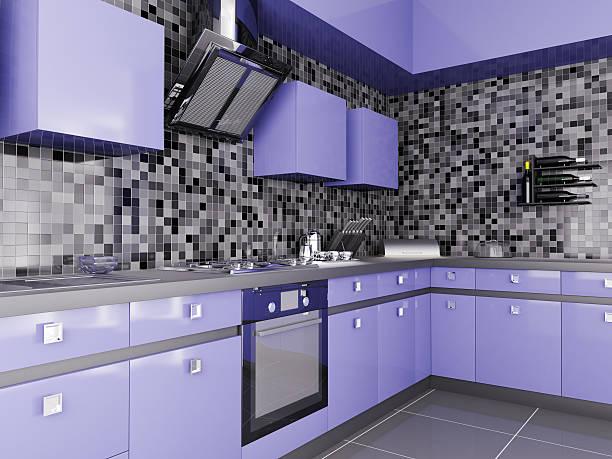 moderne küche interior 3d - küche lila stock-fotos und bilder
