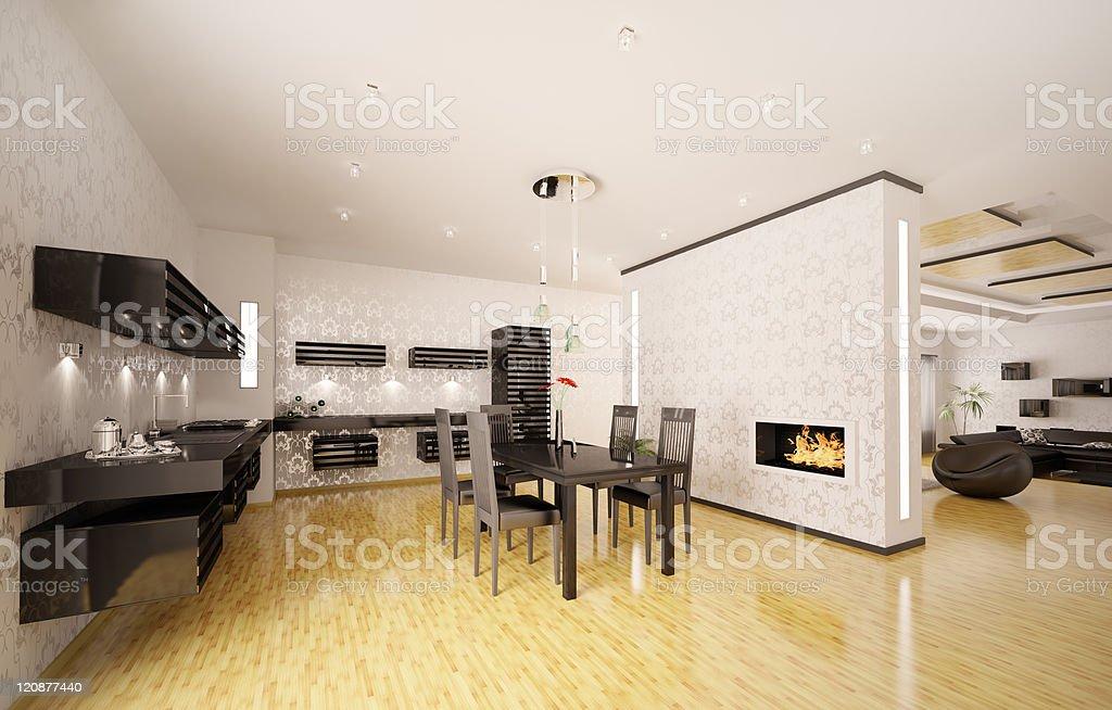 Interno Di Cucina Moderna Render 3d - Fotografie stock e ...