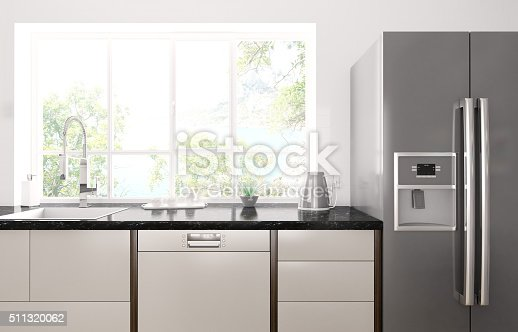 Interior of modern kitchen with black granite counter, refrigerator 3d render. Photo behind the window is my own work, all rights belong to me.
