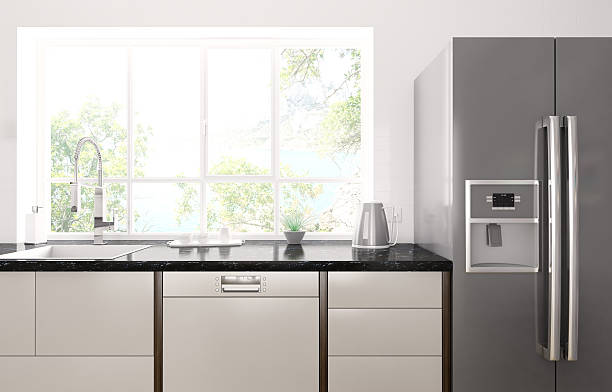 Modern kitchen interior 3d render Interior of modern kitchen with black granite counter, refrigerator 3d render. Photo behind the window is my own work, all rights belong to me. dishwasher stock pictures, royalty-free photos & images