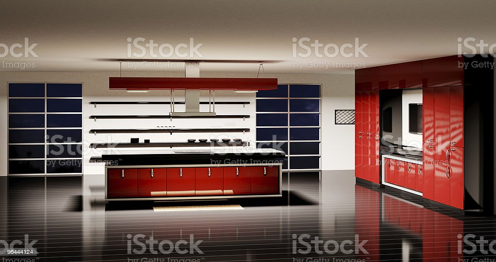 Modern kitchen interior 3d render royalty-free stock photo
