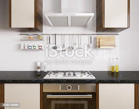 istock Modern kitchen interior 3d rendering 509048880