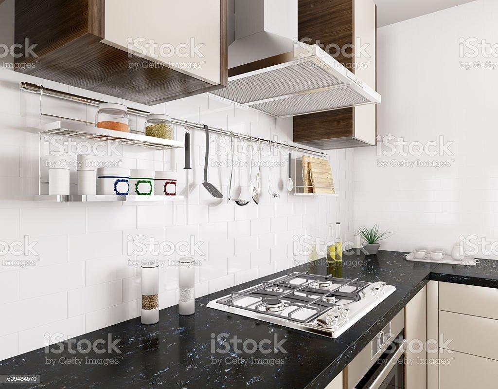 Interior Da Cozinha Moderna 3d Representa O Art Stica Imagens De