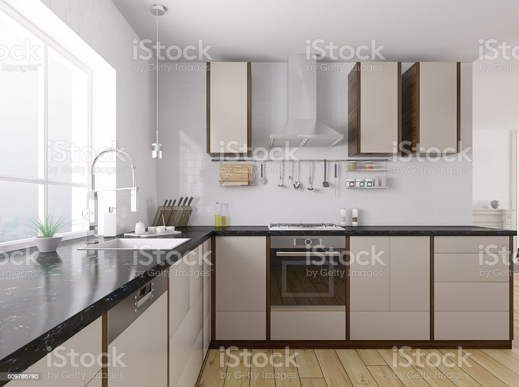 Modern Kitchen Interior 3d Rendering Stock Photo Download Image Now Istock