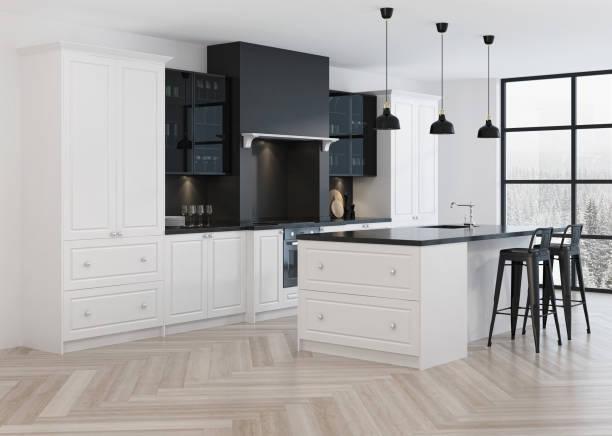 Modern kitchen interior. 3D rendering. stock photo