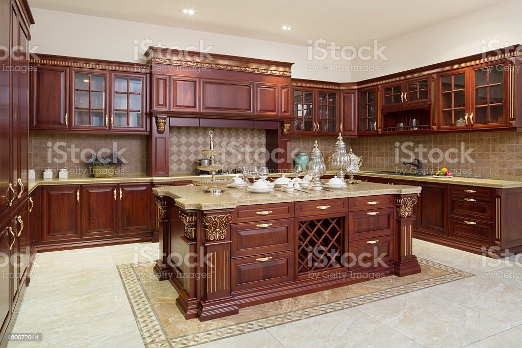 Modern kitchen interior and furnitures stock photo