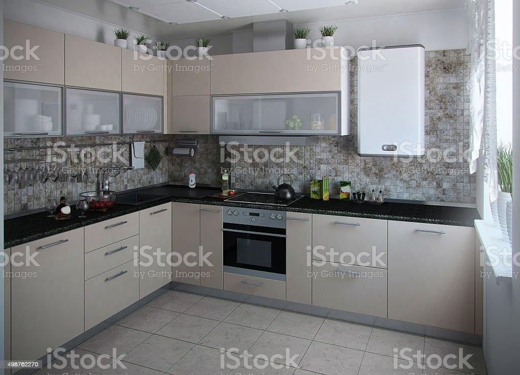 Moderne Küche interior 3D render Konservativen Farben – Foto