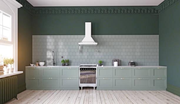 moderne küche interior design. - küche deko grün stock-fotos und bilder