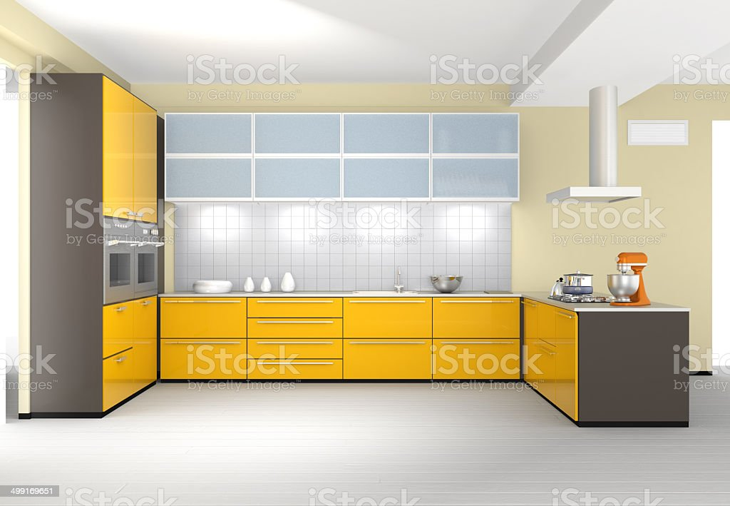 Modern kitchen interior design with yellow color coordinate royalty-free stock photo
