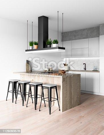 Modern kitchen interior. Render image.