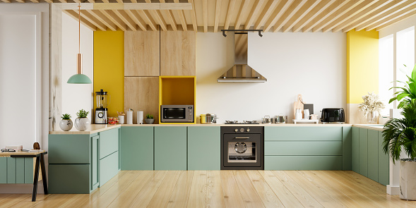Modern kitchen interior with furniture.Stylish kitchen interior with yellow wall.3D Rendering