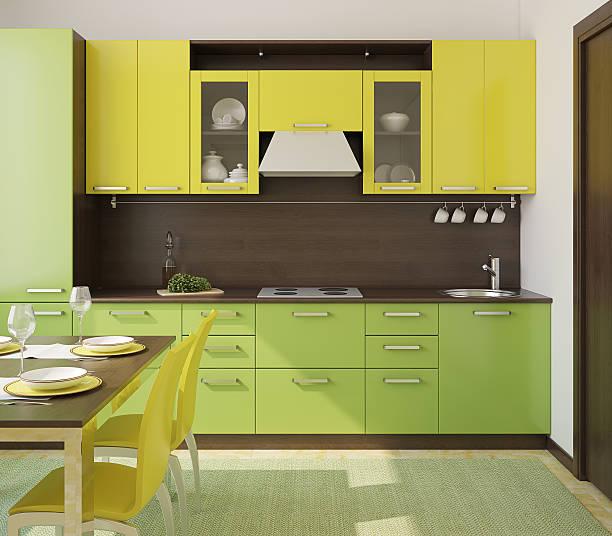 moderne küche interieur. - küche deko grün stock-fotos und bilder