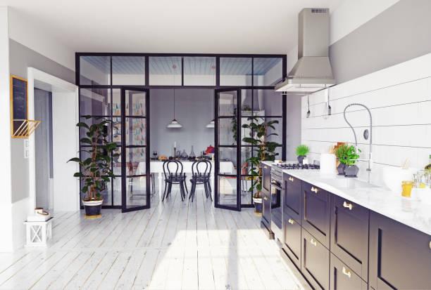 moderne küche interieur. - raumteiler weiß stock-fotos und bilder